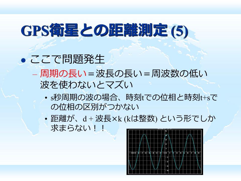 GPS 衛星との距離測定 (5) ここで問題発生 – 周期の長い=波長の長い=周波数の低い 波を使わないとマズい s 秒周期の波の場合、時刻 t での位相と時刻 t+s で の位相の区別がつかない 距離が、 d + 波長 ×k (k は整数 ) という形でしか 求まらない!!