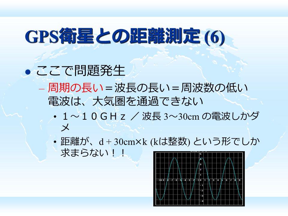 GPS 衛星との距離測定 (6) ここで問題発生 – 周期の長い=波長の長い=周波数の低い 電波は、大気圏を通過できない 1~10GHz / 波長 3 ~ 30cm の電波しかダ メ 距離が、 d + 30cm×k (k は整数 ) という形でしか 求まらない!!