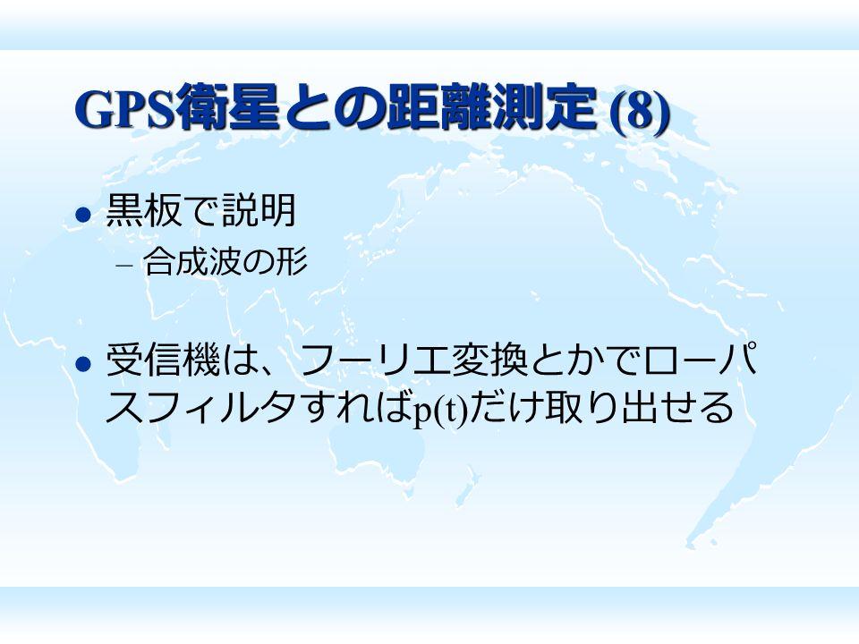GPS 衛星との距離測定 (8) 黒板で説明 – 合成波の形 受信機は、フーリエ変換とかでローパ スフィルタすれば p(t) だけ取り出せる
