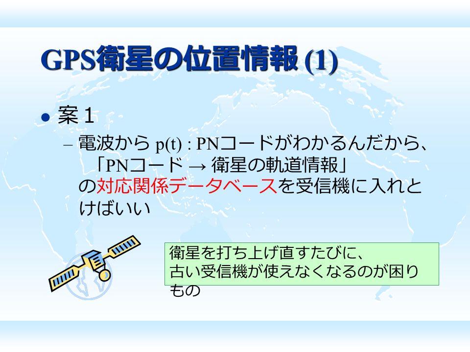 GPS 衛星の位置情報 (1) 案1 – 電波から p(t) : PN コードがわかるんだから、 「 PN コード → 衛星の軌道情報」 の対応関係データベースを受信機に入れと けばいい 衛星を打ち上げ直すたびに、 古い受信機が使えなくなるのが困り もの