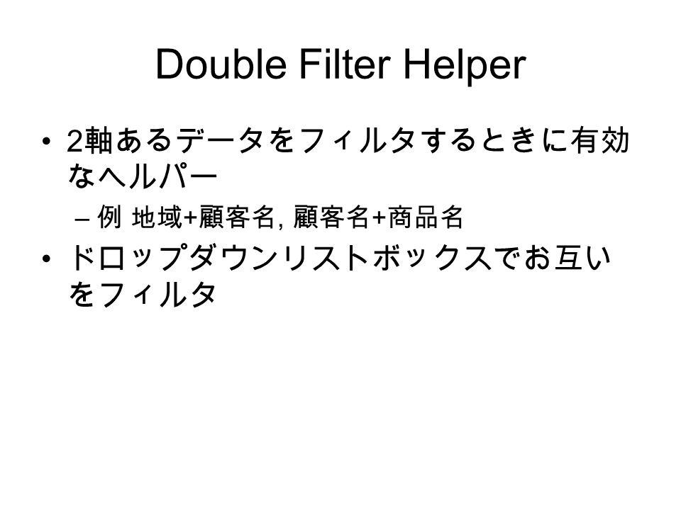 Double Filter Helper 2 軸あるデータをフィルタするときに有効 なヘルパー – 例 地域 + 顧客名, 顧客名 + 商品名 ドロップダウンリストボックスでお互い をフィルタ