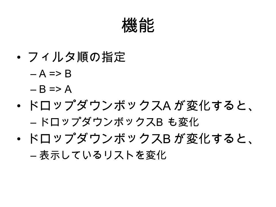 機能 フィルタ順の指定 –A => B –B => A ドロップダウンボックス A が変化すると、 – ドロップダウンボックス B も変化 ドロップダウンボックス B が変化すると、 – 表示しているリストを変化