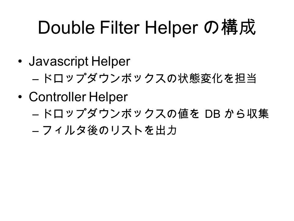 Double Filter Helper の構成 Javascript Helper – ドロップダウンボックスの状態変化を担当 Controller Helper – ドロップダウンボックスの値を DB から収集 – フィルタ後のリストを出力