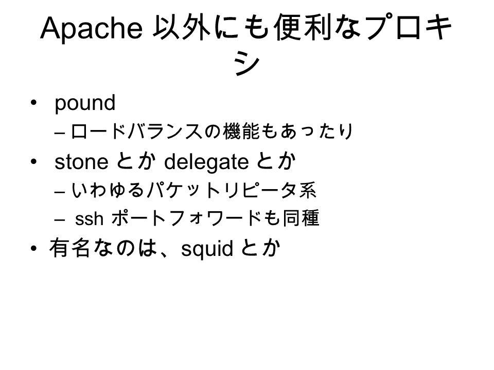 Apache 以外にも便利なプロキ シ pound – ロードバランスの機能もあったり stone とか delegate とか – いわゆるパケットリピータ系 – ssh ポートフォワードも同種 有名なのは、 squid とか
