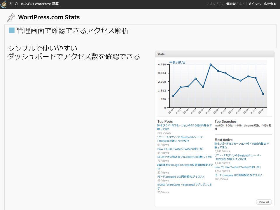 ブロガーのための WordPress 講座 こんにちは、参加者さん!|メインホールを出る ■ 管理画面で確認できるアクセス解析 シンプルで使いやすい ダッシュボードでアクセス数を確認できる WordPress.com Stats