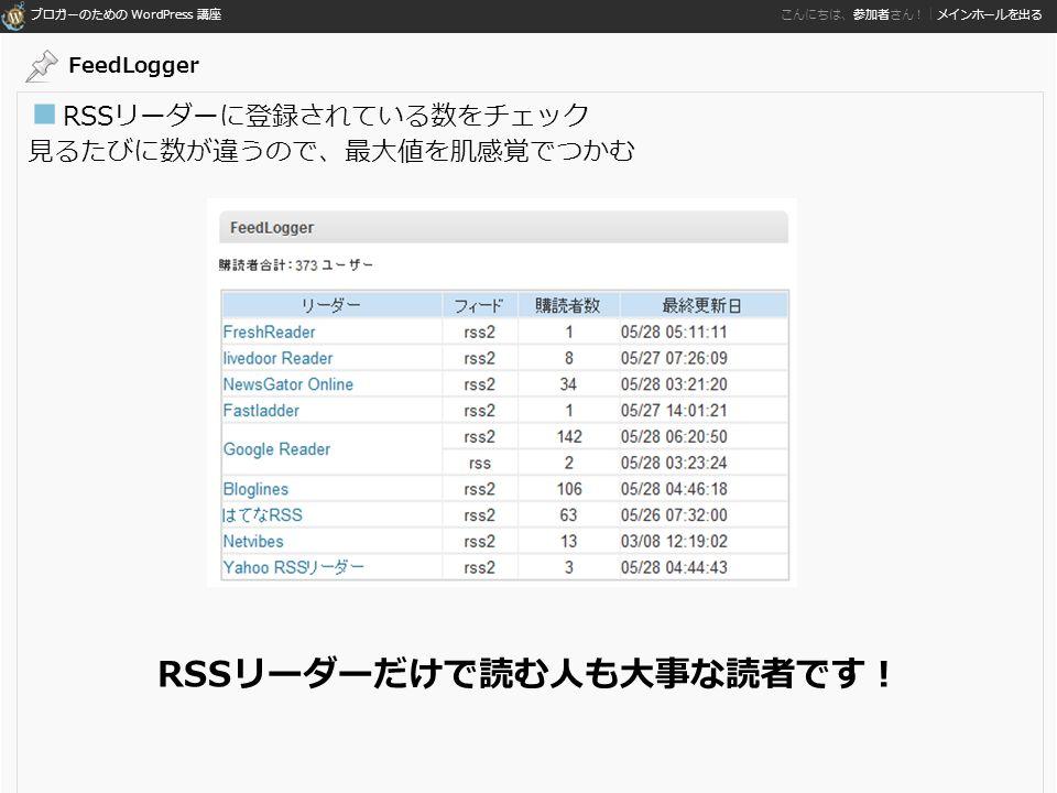 ブロガーのための WordPress 講座 こんにちは、参加者さん!|メインホールを出る ■ RSSリーダーに登録されている数をチェック 見るたびに数が違うので、最大値を肌感覚でつかむ RSSリーダーだけで読む人も大事な読者です! FeedLogger
