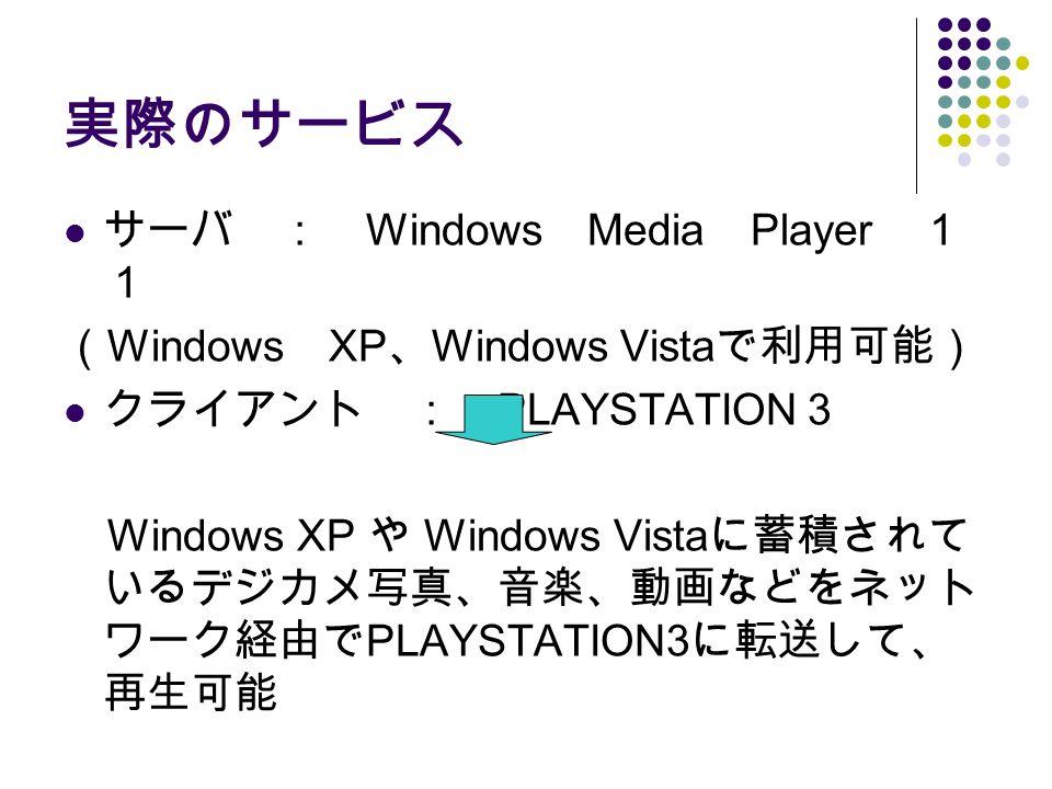 実際のサービス サーバ : Windows Media Player 1 1 ( Windows XP 、 Windows Vista で利用可能) クライアント : PLAYSTATION 3 Windows XP や Windows Vista に蓄積されて いるデジカメ写真、音楽、動画などをネット ワーク経由で PLAYSTATION3 に転送して、 再生可能