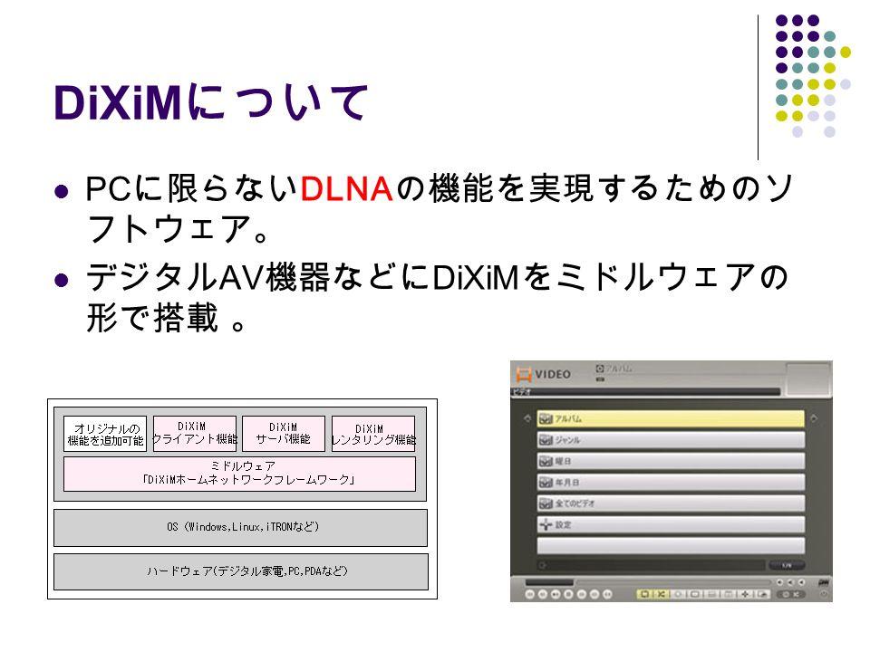 DiXiM について PC に限らない DLNA の機能を実現するためのソ フトウェア。 デジタル AV 機器などに DiXiM をミドルウェアの 形で搭載 。