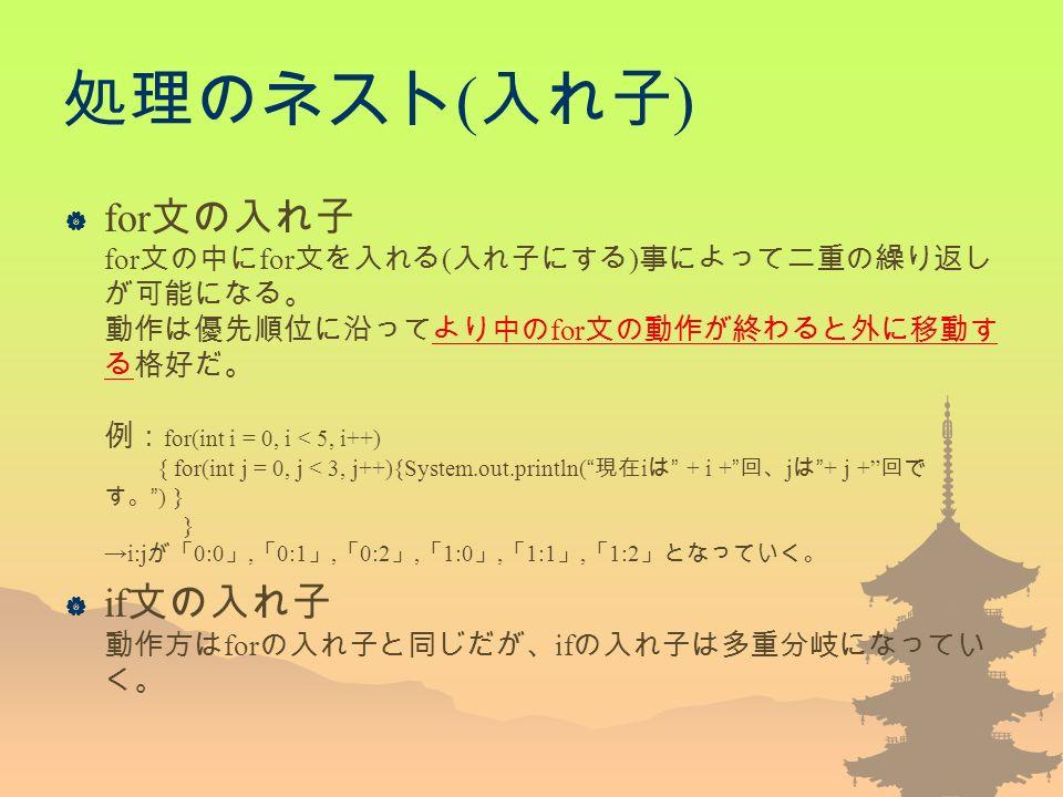 処理のネスト ( 入れ子 )  for 文の入れ子 for 文の中に for 文を入れる ( 入れ子にする ) 事によって二重の繰り返し が可能になる。 動作は優先順位に沿ってより中の for 文の動作が終わると外に移動す る格好だ。 例: for(int i = 0, i < 5, i++) { for(int j = 0, j < 3, j++){System.out.println( 現在 i は + i + 回、 j は + j + 回で す。 ) } } →i:j が「 0:0 」, 「 0:1 」, 「 0:2 」, 「 1:0 」, 「 1:1 」, 「 1:2 」となっていく。  if 文の入れ子 動作方は for の入れ子と同じだが、 if の入れ子は多重分岐になってい く。