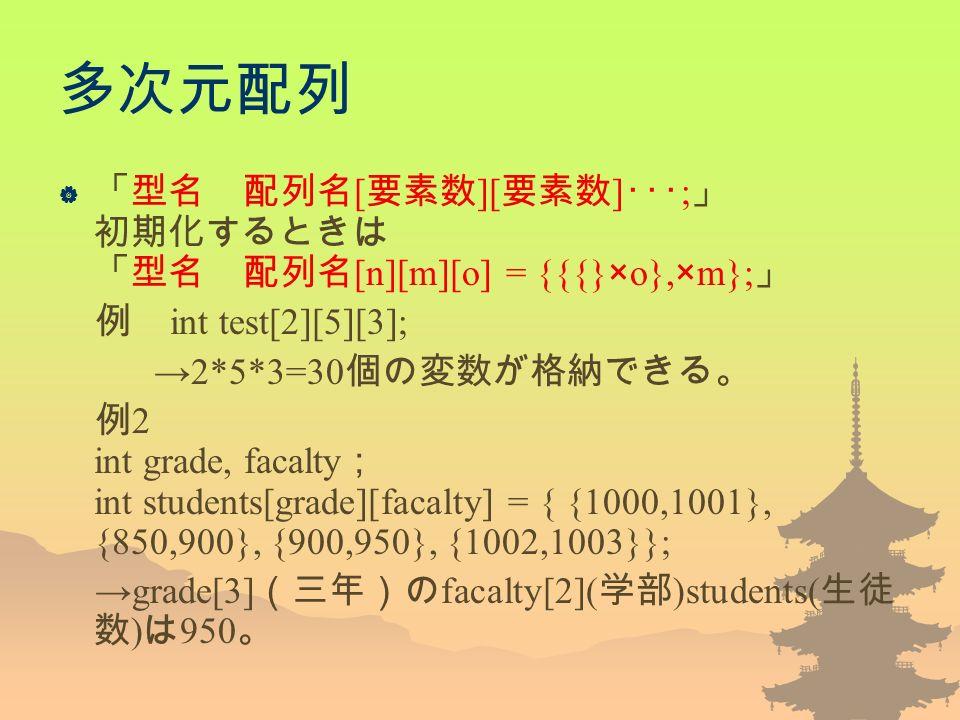 多次元配列  「型名 配列名 [ 要素数 ][ 要素数 ] ・・・ ; 」 初期化するときは 「型名 配列名 [n][m][o] = {{{}×o},×m}; 」 例 int test[2][5][3]; →2*5*3=30 個の変数が格納できる。 例 2 int grade, facalty ; int students[grade][facalty] = { {1000,1001}, {850,900}, {900,950}, {1002,1003}}; →grade[3] (三年)の facalty[2]( 学部 )students( 生徒 数 ) は 950 。