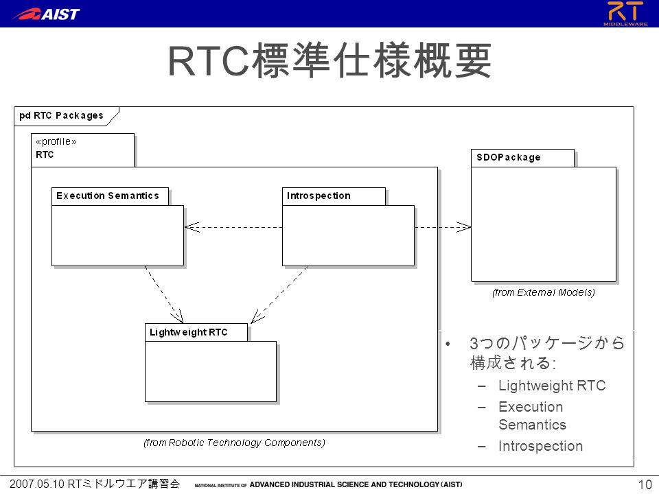 2007.05.10 RT ミドルウエア講習会 10 RTC 標準仕様概要 3 つのパッケージから 構成される : –Lightweight RTC –Execution Semantics –Introspection
