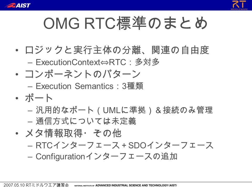 2007.05.10 RT ミドルウエア講習会 OMG RTC 標準のまとめ ロジックと実行主体の分離、関連の自由度 –ExecutionContext ⇔ RTC :多対多 コンポーネントのパターン –Execution Semantics : 3 種類 ポート – 汎用的なポート( UML に準拠)&接続のみ管理 – 通信方式については未定義 メタ情報取得・その他 –RTC インターフェース+ SDO インターフェース –Configuration インターフェースの追加