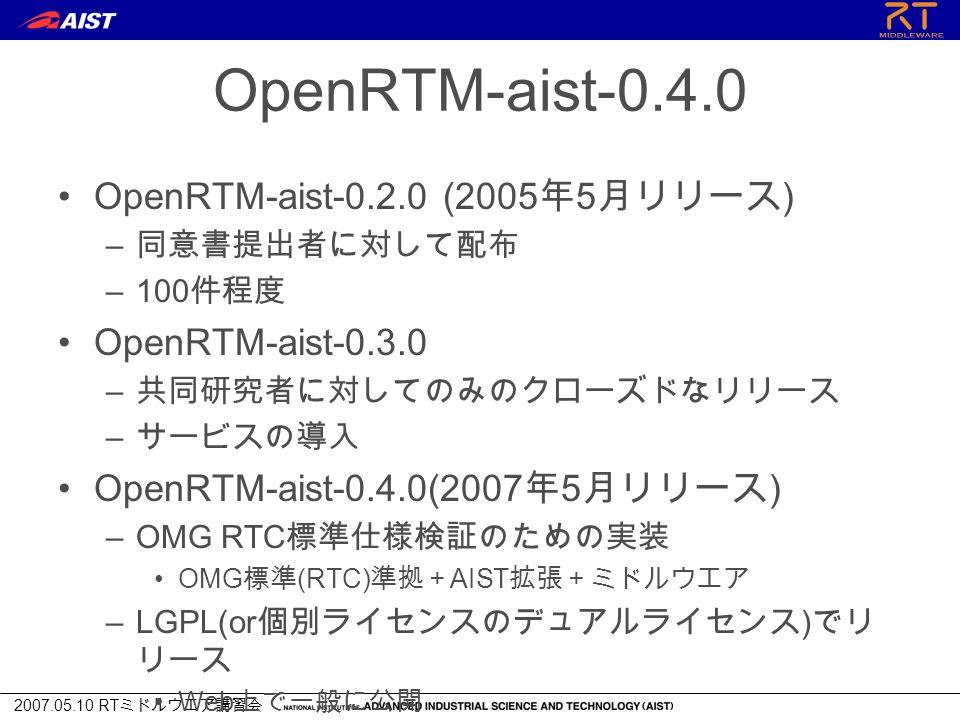 2007.05.10 RT ミドルウエア講習会 OpenRTM-aist-0.4.0 OpenRTM-aist-0.2.0 (2005 年 5 月リリース ) – 同意書提出者に対して配布 –100 件程度 OpenRTM-aist-0.3.0 – 共同研究者に対してのみのクローズドなリリース – サービスの導入 OpenRTM-aist-0.4.0(2007 年 5 月リリース ) –OMG RTC 標準仕様検証のための実装 OMG 標準 (RTC) 準拠+ AIST 拡張+ミドルウエア –LGPL(or 個別ライセンスのデュアルライセンス ) でリ リース Web 上で一般に公開