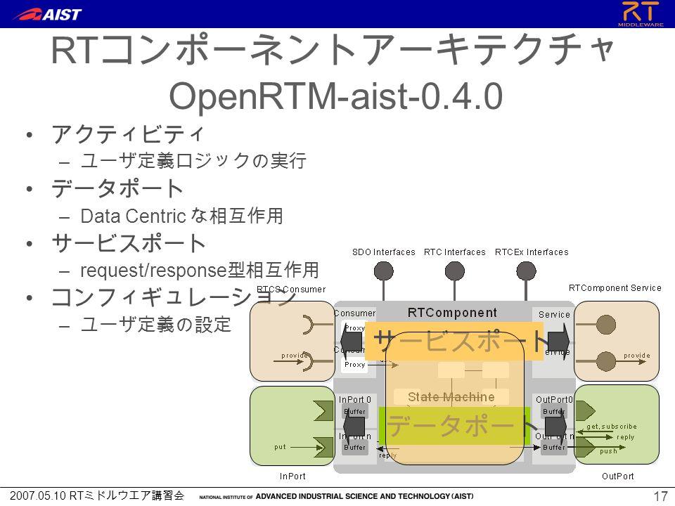 2007.05.10 RT ミドルウエア講習会 17 Architecture of RT component RT コンポーネントアーキテクチャ OpenRTM-aist-0.4.0 アクティビティ – ユーザ定義ロジックの実行 データポート –Data Centric な相互作用 サービスポート –request/response 型相互作用 コンフィギュレーション – ユーザ定義の設定 サービスポート データポート