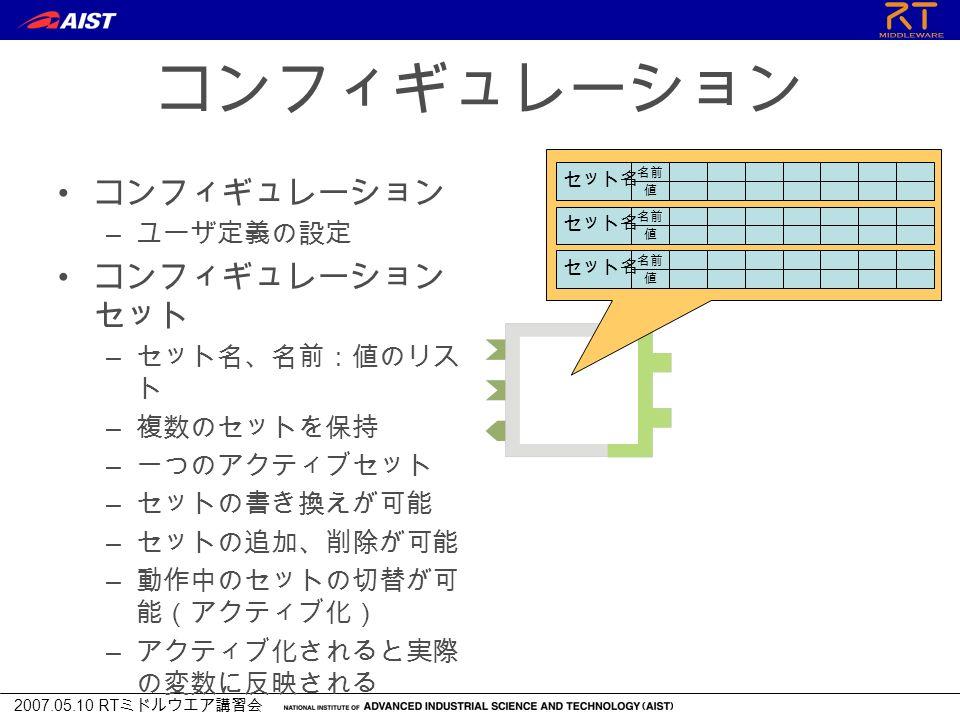 2007.05.10 RT ミドルウエア講習会 コンフィギュレーション – ユーザ定義の設定 コンフィギュレーション セット – セット名、名前:値のリス ト – 複数のセットを保持 – 一つのアクティブセット – セットの書き換えが可能 – セットの追加、削除が可能 – 動作中のセットの切替が可 能(アクティブ化) – アクティブ化されると実際 の変数に反映される 名前 値 セット名 名前 値 セット名 名前 値 セット名