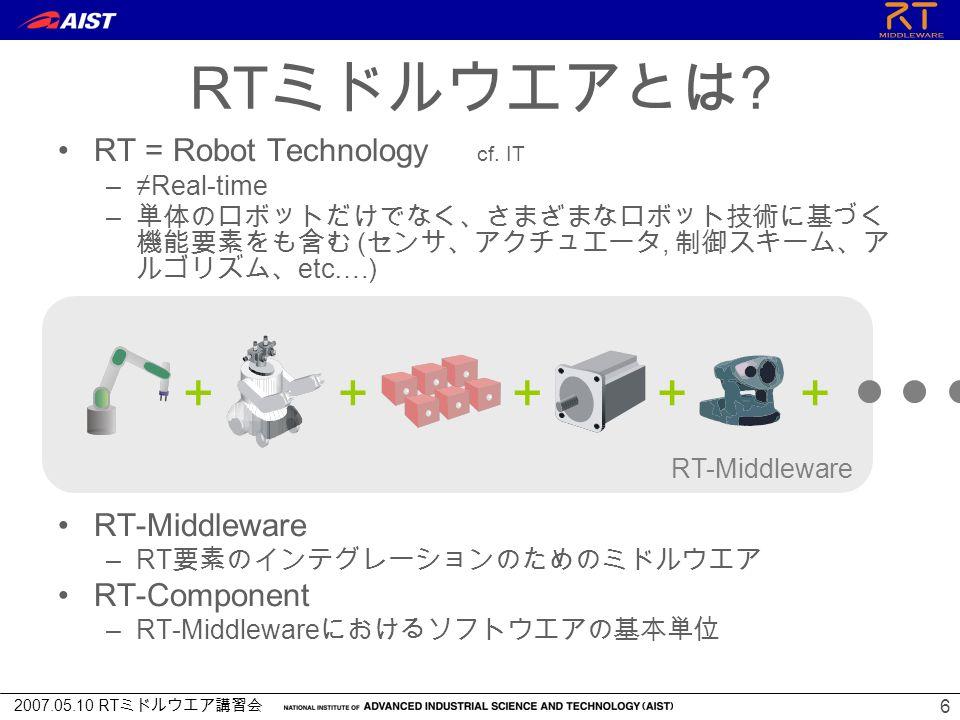 2007.05.10 RT ミドルウエア講習会 6 RT = Robot Technology cf.