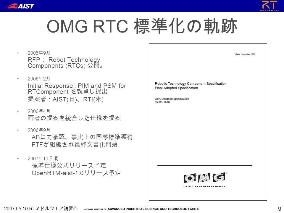 2007.05.10 RT ミドルウエア講習会 99 OMG RTC 標準化の軌跡 2005 年 9 月 RFP : Robot Technology Components (RTCs) 公開。 2006 年 2 月 Initial Response : PIM and PSM for RTComponent を執筆し提出 提案者: AIST( 日 ) 、 RTI( 米 ) 2006 年 4 月 両者の提案を統合した仕様を提案 2006 年 9 月 AB にて承認、事実上の国際標準獲得 FTF が組織され最終文書化開始 2007 年 11 月頃 標準仕様公式リリース予定 OpenRTM-aist-1.0 リリース予定