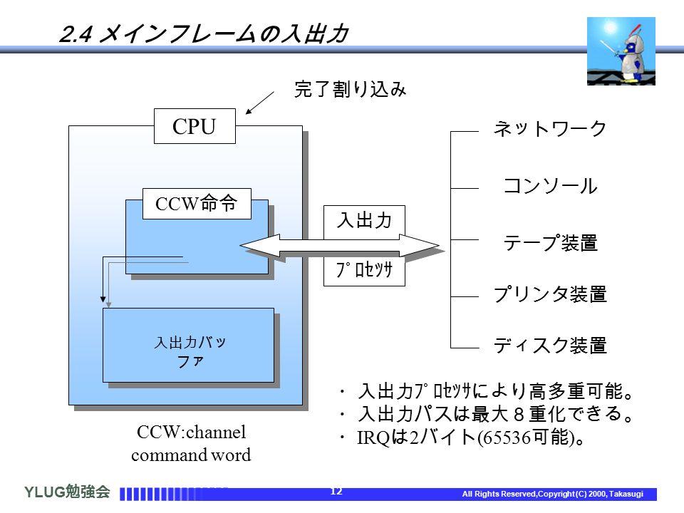 YLUG 勉強会 12 All Rights Reserved,Copyright (C) 2000, Takasugi 2.4 メインフレームの入出力 CCW:channel command word CPU 完了割り込み CCW 命令 入出力バッ ファ 入出力 プロセッサ ネットワーク コンソール テープ装置 プリンタ装置 ディスク装置 ・入出力プロセッサにより高多重可能。 ・入出力パスは最大8重化できる。 ・ IRQ は 2 バイト (65536 可能 ) 。