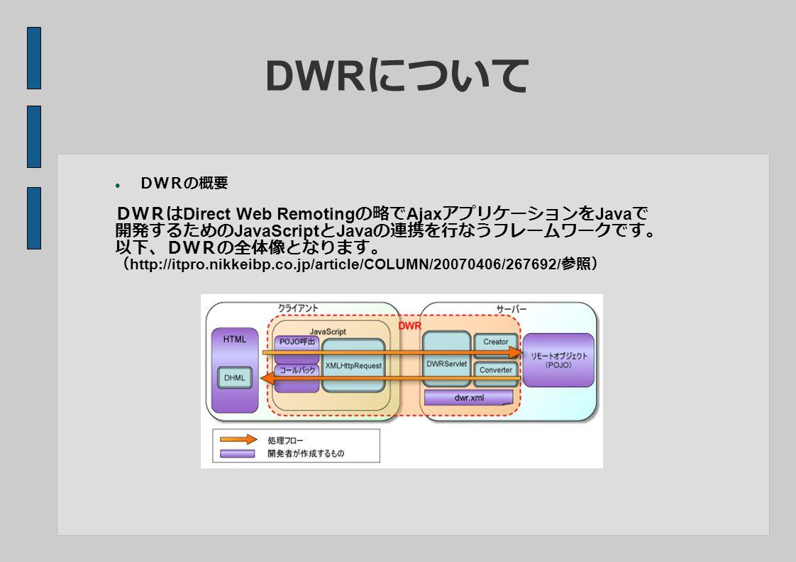 DWR について DWRの概要 DWRは Direct Web Remoting の略で Ajax アプリケーションを Java で 開発するための JavaScript と Java の連携を行なうフレームワークです。 以下、DWRの全体像となります。 ( http://itpro.nikkeibp.co.jp/article/COLUMN/20070406/267692/ 参照)