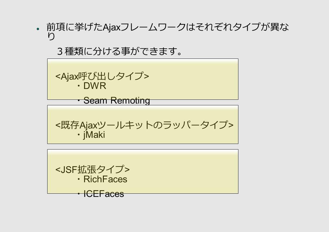 前項に挙げた Ajax フレームワークはそれぞれタイプが異な り 3種類に分ける事ができます。 ・ DWR ・ Seam Remoting ・ jMaki ・ RichFaces ・ ICEFaces