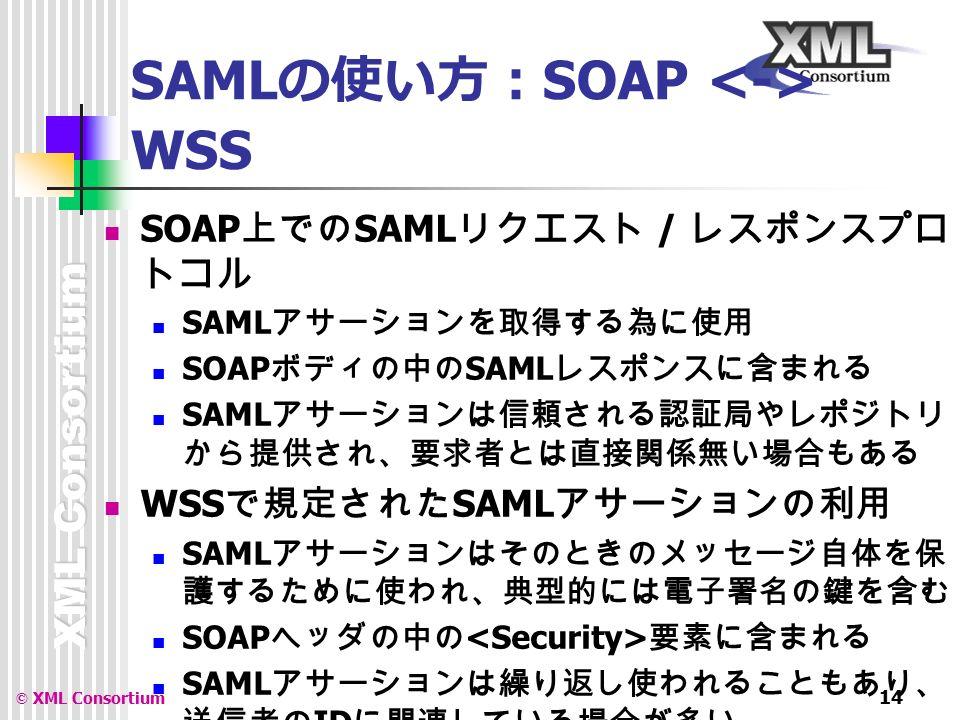 XML Consortium © XML Consortium 14 SAML の使い方: SOAP WSS SOAP 上での SAML リクエスト / レスポンスプロ トコル SAML アサーションを取得する為に使用 SOAP ボディの中の SAML レスポンスに含まれる SAML アサーションは信頼される認証局やレポジトリ から提供され、要求者とは直接関係無い場合もある WSS で規定された SAML アサーションの利用 SAML アサーションはそのときのメッセージ自体を保 護するために使われ、典型的には電子署名の鍵を含む SOAP ヘッダの中の 要素に含まれる SAML アサーションは繰り返し使われることもあり、 送信者の ID に関連している場合が多い