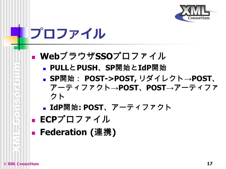XML Consortium © XML Consortium 17 プロファイル Web ブラウザ SSO プロファイル PULL と PUSH 、 SP 開始と IdP 開始 SP 開始: POST->POST, リダイレクト → POST 、 アーティファクト → POST 、 POST → アーティファ クト IdP 開始 : POST 、アーティファクト ECP プロファイル Federation ( 連携 )