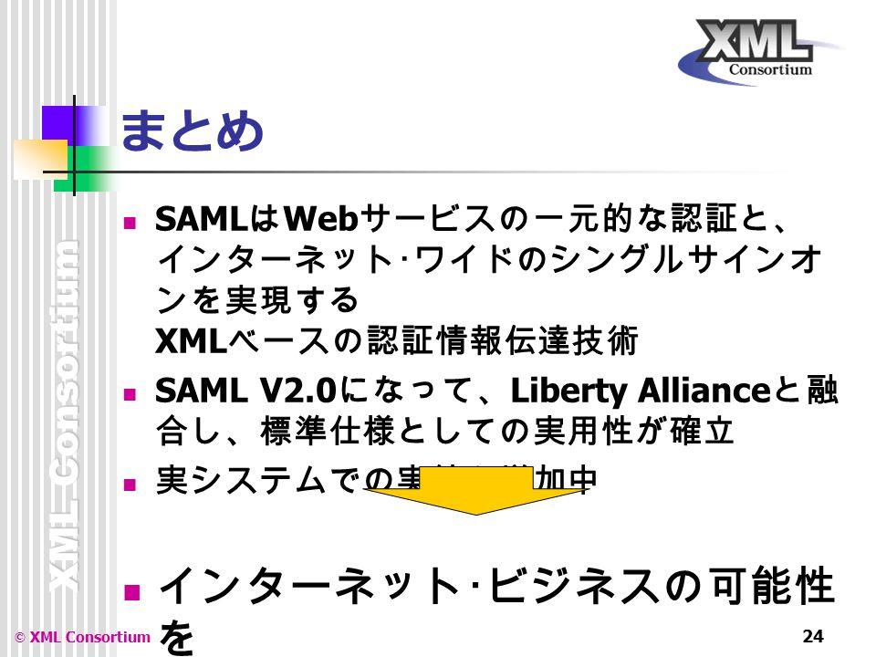 XML Consortium © XML Consortium 24 まとめ SAML は Web サービスの一元的な認証と、 インターネット・ワイドのシングルサインオ ンを実現する XML ベースの認証情報伝達技術 SAML V2.0 になって、 Liberty Alliance と融 合し、標準仕様としての実用性が確立 実システムでの実績も増加中 インターネット・ビジネスの可能性 を 大きく広げる注目技術です