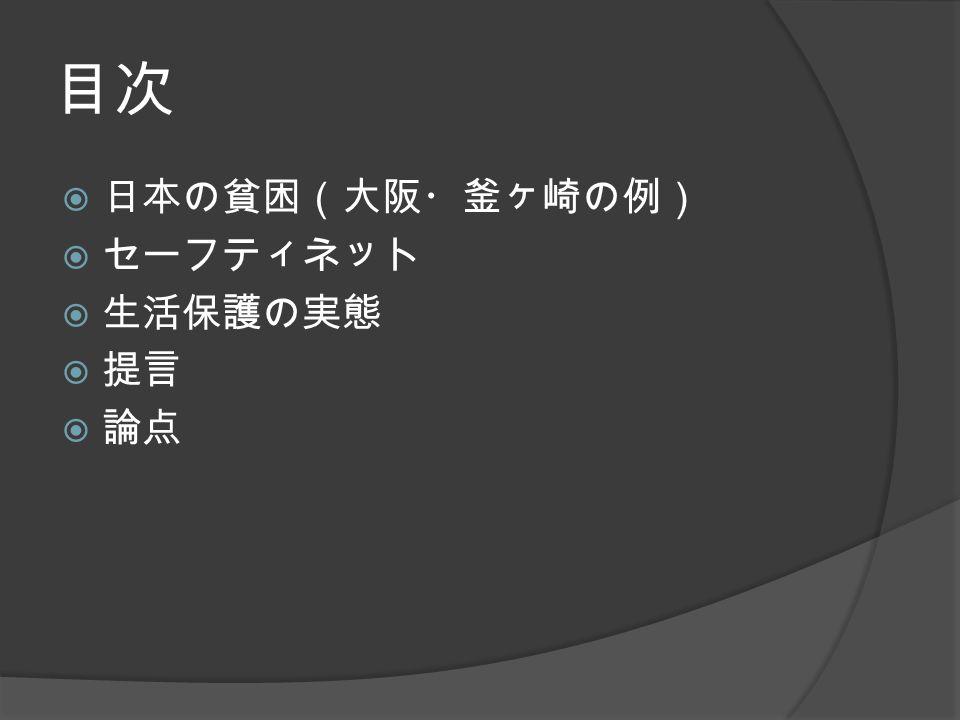 目次  日本の貧困(大阪・釜ヶ崎の例)  セーフティネット  生活保護の実態  提言  論点