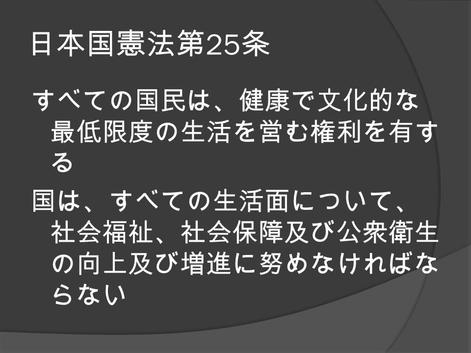 日本国憲法第 25 条 すべての国民は、健康で文化的な 最低限度の生活を営む権利を有す る 国は、すべての生活面について、 社会福祉、社会保障及び公衆衛生 の向上及び増進に努めなければな らない