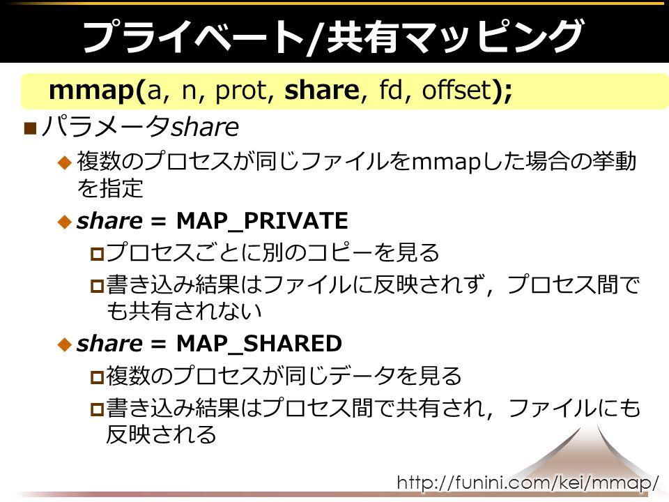 mmap(a, n, prot, share, fd, offset); パラメータshare  複数のプロセスが同じファイルをmmapした場合の挙動 を指定  share = MAP_PRIVATE  プロセスごとに別のコピーを見る  書き込み結果はファイルに反映されず,プロセス間で も共有されない  share = MAP_SHARED  複数のプロセスが同じデータを見る  書き込み結果はプロセス間で共有され,ファイルにも 反映される プライベート/共有マッピング