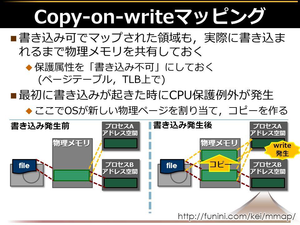 書き込み可でマップされた領域も,実際に書き込ま れるまで物理メモリを共有しておく  保護属性を「書き込み不可」にしておく (ページテーブル,TLB上で) 最初に書き込みが起きた時にCPU保護例外が発生  ここでOSが新しい物理ページを割り当て,コピーを作る Copy-on-writeマッピング 物理メモリ file 書き込み発生前 プロセスB アドレス空間 プロセスA アドレス空間 物理メモリ file プロセスB アドレス空間 プロセスA アドレス空間 write 発生 コピー 書き込み発生後