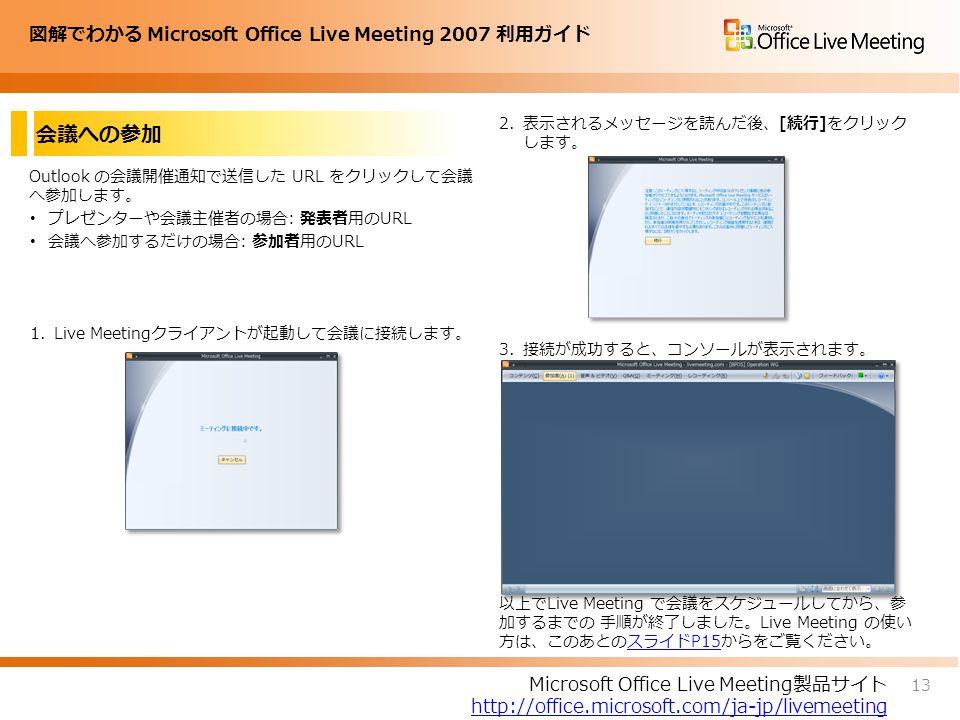 図解でわかる Microsoft Office Live Meeting 2007 利用ガイド 会議への参加 Outlook の会議開催通知で送信した URL をクリックして会議 へ参加します。 プレゼンターや会議主催者の場合: 発表者用のURL 会議へ参加するだけの場合: 参加者用のURL 1.Live Meetingクライアントが起動して会議に接続します。 2.表示されるメッセージを読んだ後、[続行]をクリック します。 3.接続が成功すると、コンソールが表示されます。 以上でLive Meeting で会議をスケジュールしてから、参 加するまでの 手順が終了しました。Live Meeting の使い 方は、このあとのスライドP15からをご覧ください。スライドP15 13 Microsoft Office Live Meeting製品サイト http://office.microsoft.com/ja-jp/livemeeting