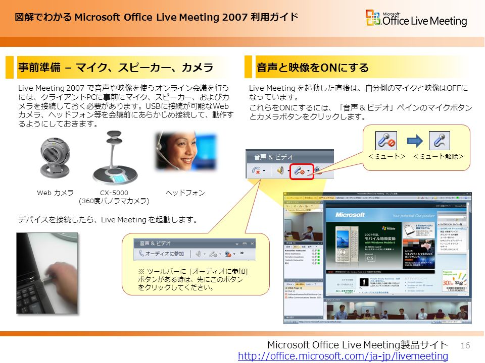 図解でわかる Microsoft Office Live Meeting 2007 利用ガイド 事前準備 – マイク、スピーカー、カメラ Live Meeting 2007 で音声や映像を使うオンライン会議を行う には、クライアントPCに事前にマイク、スピーカー、およびカ メラを接続しておく必要があります。USBに接続が可能なWeb カメラ、ヘッドフォン等を会議前にあらかじめ接続して、動作す るようにしておきます。 デバイスを接続したら、Live Meeting を起動します。 Live Meeting を起動した直後は、自分側のマイクと映像はOFFに なっています。 これらをONにするには、「音声 & ビデオ」ペインのマイクボタン とカメラボタンをクリックします。 16 Microsoft Office Live Meeting製品サイト http://office.microsoft.com/ja-jp/livemeeting 音声と映像をONにする Web カメラ CX-5000 (360度パノラマカメラ) ヘッドフォン <ミュート><ミュート解除> ※ ツールバーに [オーディオに参加] ボタンがある時は、先にこのボタン をクリックしてください。