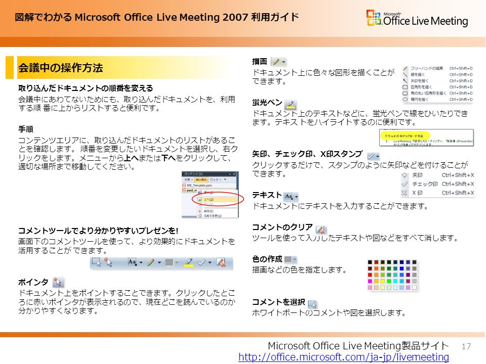 図解でわかる Microsoft Office Live Meeting 2007 利用ガイド 会議中の操作方法 取り込んだドキュメントの順番を変える 会議中にあわてないためにも、取り込んだドキュメントを、利用 する順 番に上からリストすると便利です。 手順 コンテンツエリアに、取り込んだドキュメントのリストがあるこ とを確認します。 順番を変更したいドキュメントを選択し、右ク リックをします。メニューから上へまたは下へをクリックして、 適切な場所まで移動してください。 コメントツールでより分かりやすいプレゼンを.