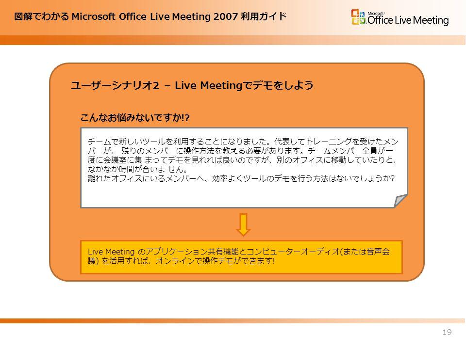 図解でわかる Microsoft Office Live Meeting 2007 利用ガイド ユーザーシナリオ2 – Live Meetingでデモをしよう 19 チームで新しいツールを利用することになりました。代表してトレーニングを受けたメン バーが、 残りのメンバーに操作方法を教える必要があります。チームメンバー全員が一 度に会議室に集 まってデモを見れれば良いのですが、別のオフィスに移動していたりと、 なかなか時間が合いま せん。 離れたオフィスにいるメンバーへ、効率よくツールのデモを行う方法はないでしょうか.