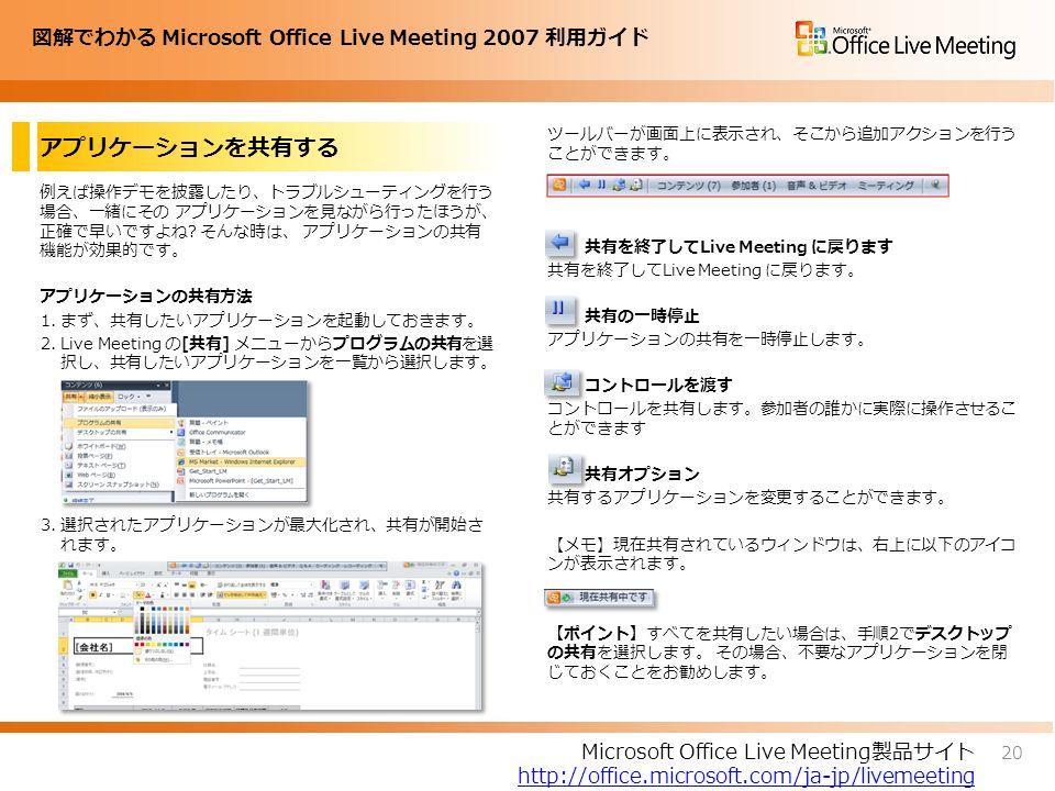 図解でわかる Microsoft Office Live Meeting 2007 利用ガイド アプリケーションを共有する 例えば操作デモを披露したり、トラブルシューティングを行う 場合、一緒にその アプリケーションを見ながら行ったほうが、 正確で早いですよね.