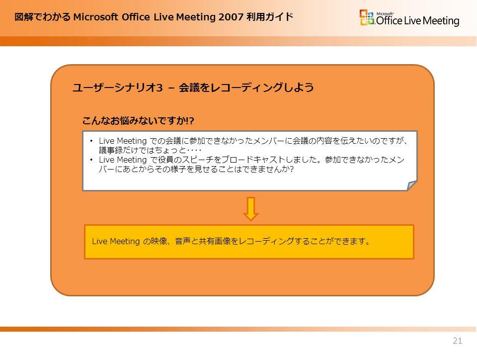 図解でわかる Microsoft Office Live Meeting 2007 利用ガイド ユーザーシナリオ3 – 会議をレコーディングしよう 21 Live Meeting での会議に参加できなかったメンバーに会議の内容を伝えたいのですが、 議事録だけではちょっと・・・・ Live Meeting で役員のスピーチをブロードキャストしました。参加できなかったメン バーにあとからその様子を見せることはできませんか.