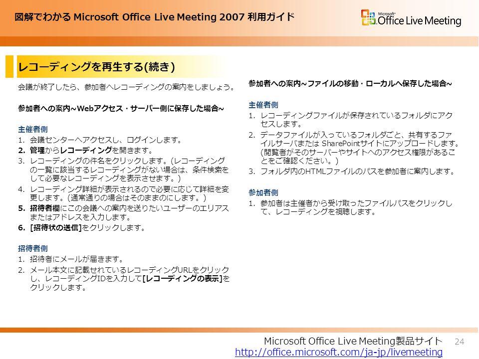 図解でわかる Microsoft Office Live Meeting 2007 利用ガイド レコーディングを再生する(続き) 会議が終了したら、参加者へレコーディングの案内をしましょう。 参加者への案内~Webアクセス・サーバー側に保存した場合~ 主催者側 1.会議センターへアクセスし、ログインします。 2.管理からレコーディングを開きます。 3.レコーディングの件名をクリックします。(レコーディング の一覧に該当するレコーディングがない場合は、条件検索を して必要なレコーディングを表示させます。) 4.レコーディング詳細が表示されるので必要に応じて詳細を変 更します。(通常通りの場合はそのままのにします。) 5.招待者欄にこの会議への案内を送りたいユーザーのエリアス またはアドレスを入力します。 6.[招待状の送信]をクリックします。 招待者側 1.招待者にメールが届きます。 2.メール本文に記載せれているレコーディングURLをクリック し、レコーディングIDを入力して[レコーディングの表示]を クリックします。 参加者への案内~ファイルの移動・ローカルへ保存した場合~ 主催者側 1.レコーディングファイルが保存されているフォルダにアク セスします。 2.データファイルが入っているフォルダごと、共有するファ イルサーバまたは SharePointサイトにアップロードします。 (閲覧者がそのサーバーやサイトへのアクセス権限があるこ とをご確認ください。) 3.フォルダ内のHTMLファイルのパスを参加者に案内します。 参加者側 1.参加者は主催者から受け取ったファイルパスをクリックし て、レコーディングを視聴します。 24 Microsoft Office Live Meeting製品サイト http://office.microsoft.com/ja-jp/livemeeting