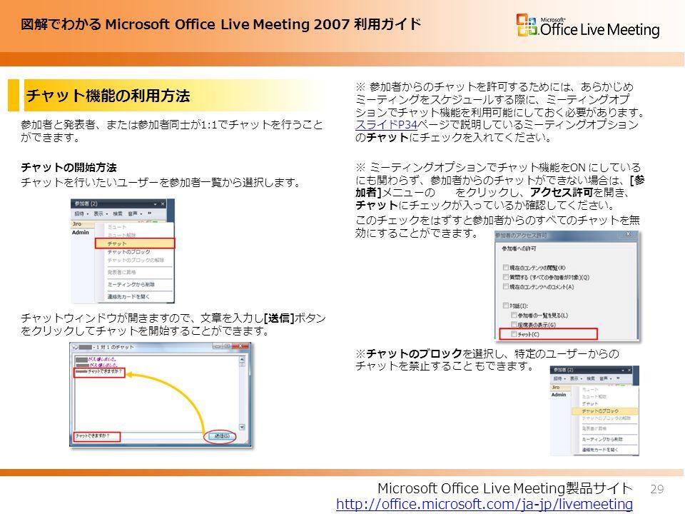 図解でわかる Microsoft Office Live Meeting 2007 利用ガイド チャット機能の利用方法 参加者と発表者、または参加者同士が1:1でチャットを行うこと ができます。 チャットの開始方法 チャットを行いたいユーザーを参加者一覧から選択します。 チャットウィンドウが開きますので、文章を入力し[送信]ボタン をクリックしてチャットを開始することができます。 ※ 参加者からのチャットを許可するためには、あらかじめ ミーティングをスケジュールする際に、ミーティングオプ ションでチャット機能を利用可能にしておく必要があります。 スライドP34ページで説明しているミーティングオプション のチャットにチェックを入れてください。 スライドP34 ※ ミーティングオプションでチャット機能をON にしている にも関わらず、参加者からのチャットができない場合は、[参 加者]メニューの をクリックし、アクセス許可を開き、 チャットにチェックが入っているか確認してください。 このチェックをはずすと参加者からのすべてのチャットを無 効にすることができます。 ※チャットのブロックを選択し、特定のユーザーからの チャットを禁止すること もできます。 29 Microsoft Office Live Meeting製品サイト http://office.microsoft.com/ja-jp/livemeeting