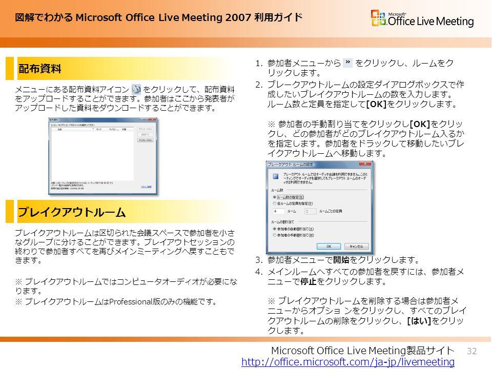 図解でわかる Microsoft Office Live Meeting 2007 利用ガイド 配布資料 メニューにある配布資料アイコン をクリックして、配布資料 をアップロードすることができます。参加者はここから発表者が アップロードした資料をダウンロードすることができます。 1.参加者メニューから をクリックし、ルームをク リックします。 2.ブレークアウトルームの設定ダイアログボックスで作 成したいブレイクアウトルームの数を入力します。 ルーム数と定員を指定して[OK]をクリックします。 ※ 参加者の手動割り当てをクリックし[OK]をクリッ クし、どの参加者がどのブレイクアウトルーム入るか を指定します。参加者をドラックして移動したいブレ イクアウトルームへ移動します。 3.参加者メニューで開始をクリックします。 4.メインルームへすべての参加者を戻すには、参加者メ ニューで停止をクリックします。 ※ ブレイクアウトルームを削除する場合は参加者メ ニューからオプショ ンをクリックし、すべてのブレイ クアウトルームの削除をクリックし、[はい]をクリッ クします。 32 Microsoft Office Live Meeting製品サイト http://office.microsoft.com/ja-jp/livemeeting ブレイクアウトルーム ブレイクアウトルームは区切られた会議スペースで参加者を小さ なグループに分けることができます。ブレイアウトセッションの 終わりで参加者すべてを再びメインミーティングへ戻すこともで きます。 ※ ブレイクアウトルームではコンピュータオーディオが必要にな ります。 ※ ブレイクアウトルームはProfessional版のみの機能です。