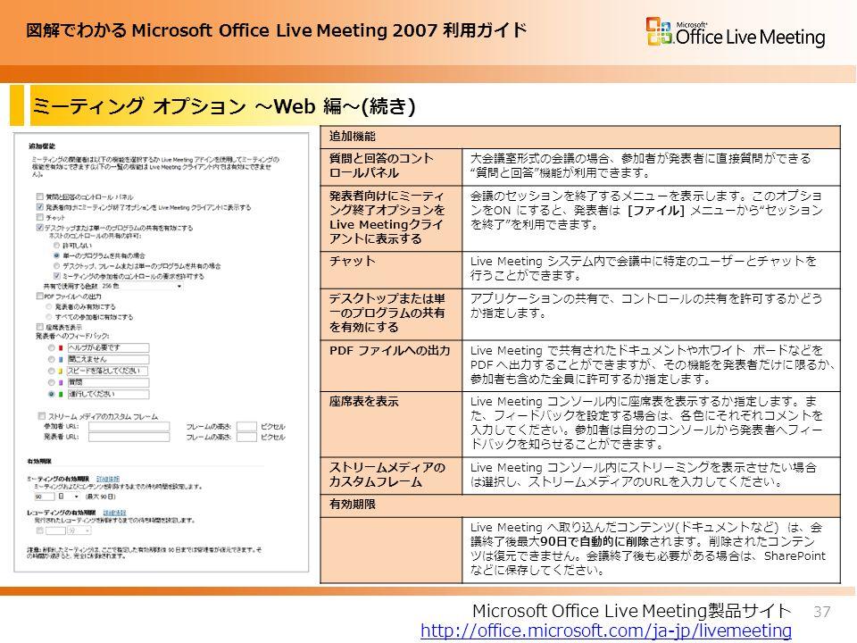 図解でわかる Microsoft Office Live Meeting 2007 利用ガイド ミーティング オプション ~Web 編~(続き) 37 Microsoft Office Live Meeting製品サイト http://office.microsoft.com/ja-jp/livemeeting 追加機能 質問と回答のコント ロールパネル 大会議室形式の会議の場合、参加者が発表者に直接質問ができる 質問と回答 機能が利用できます。 発表者向けにミーティ ング終了オプションを Live Meetingクライ アントに表示する 会議のセッションを終了するメニューを表示します。このオプショ ンをON にすると、発表者は [ファイル] メニューから セッション を終了 を利用できます。 チャットLive Meeting システム内で会議中に特定のユーザーとチャットを 行うことができます。 デスクトップまたは単 一のプログラムの共有 を有効にする アプリケーションの共有で、コントロールの共有を許可するかどう か指定します。 PDF ファイルへの出力Live Meeting で共有されたドキュメントやホワイト ボードなどを PDF へ出力することができますが、その機能を発表者だけに限るか、 参加者も含めた全員に許可するか指定します。 座席表を表示Live Meeting コンソール内に座席表を表示するか指定します。ま た、フィードバックを設定する場合は、各色にそれぞれコメントを 入力してください。参加者は自分のコンソールから発表者へフィー ドバックを知らせることができます。 ストリームメディアの カスタムフレーム Live Meeting コンソール内にストリーミングを表示させたい場合 は選択し、ストリームメディアのURLを入力してください。 有効期限 Live Meeting へ取り込んだコンテンツ(ドキュメントなど) は、会 議終了後最大90日で自動的に削除されます。削除されたコンテン ツは復元できません。会議終了後も必要がある場合は、SharePoint などに保存してください。