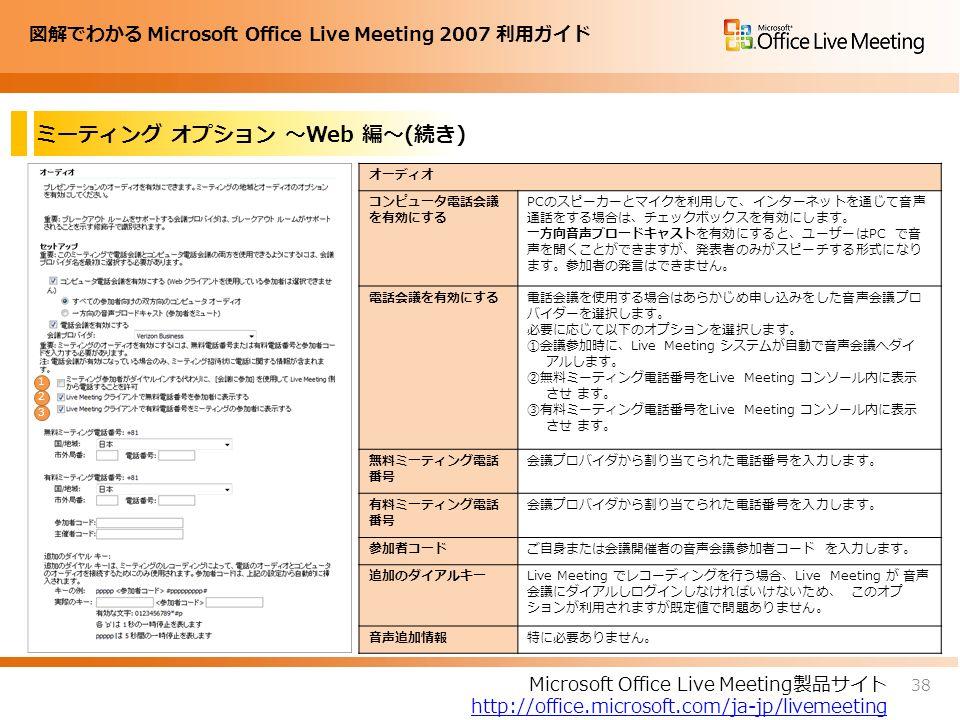 図解でわかる Microsoft Office Live Meeting 2007 利用ガイド ミーティング オプション ~Web 編~(続き) 38 Microsoft Office Live Meeting製品サイト http://office.microsoft.com/ja-jp/livemeeting オーディオ コンピュータ電話会議 を有効にする PCのスピーカーとマイクを利用して、インターネットを通じて音声 通話をする場合は、チェックボックスを有効にします。 一方向音声ブロードキャストを有効にすると、ユーザーはPC で音 声を聞くことができますが、発表者のみがスピーチする形式になり ます。参加者の発言はできません。 電話会議を有効にする電話会議を使用する場合はあらかじめ申し込みをした音声会議プロ バイダーを選択します。 必要に応じて以下のオプションを選択します。 ①会議参加時に、Live Meeting システムが自動で音声会議へダイ アルします。 ②無料ミーティング電話番号をLive Meeting コンソール内に表示 させ ます。 ③有料ミーティング電話番号をLive Meeting コンソール内に表示 させ ます。 無料ミーティング電話 番号 会議プロバイダから割り当てられた電話番号を入力します。 有料ミーティング電話 番号 会議プロバイダから割り当てられた電話番号を入力します。 参加者コードご自身または会議開催者の音声会議参加者コード を入力します。 追加のダイアルキーLive Meeting でレコーディングを行う場合、Live Meeting が 音声 会議にダイアルしログインしなければいけないため、 このオプ ションが利用されますが既定値で問題ありません。 音声追加情報特に必要ありません。 1 2 3