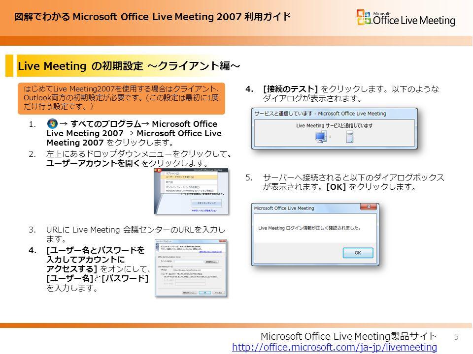 図解でわかる Microsoft Office Live Meeting 2007 利用ガイド Live Meeting の初期設定 ~クライアント編~ 1.