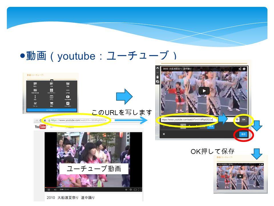 ● 動画( youtube :ユーチューブ) この URL を写します OK 押して保存 ユーチューブ動画