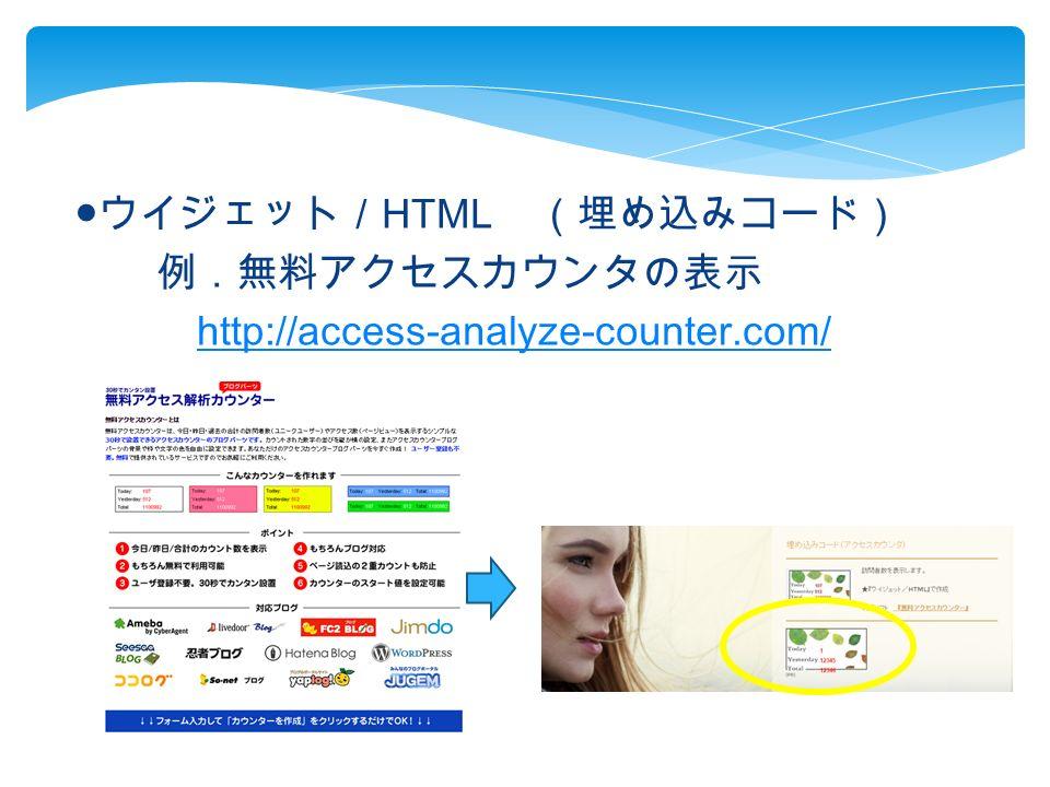 ● ウイジェット/ HTML (埋め込みコード) 例.無料アクセスカウンタの表示 http://access-analyze-counter.com/