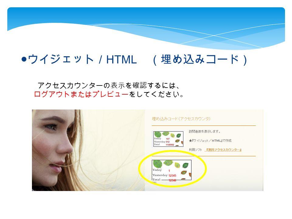 ● ウイジェット/ HTML (埋め込みコード) アクセスカウンターの表示を確認するには、 ログアウトまたはプレビューをしてください。