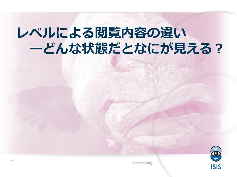 11 www.isis.org レベルによる閲覧内容の違い ーどんな状態だとなにが見える ?