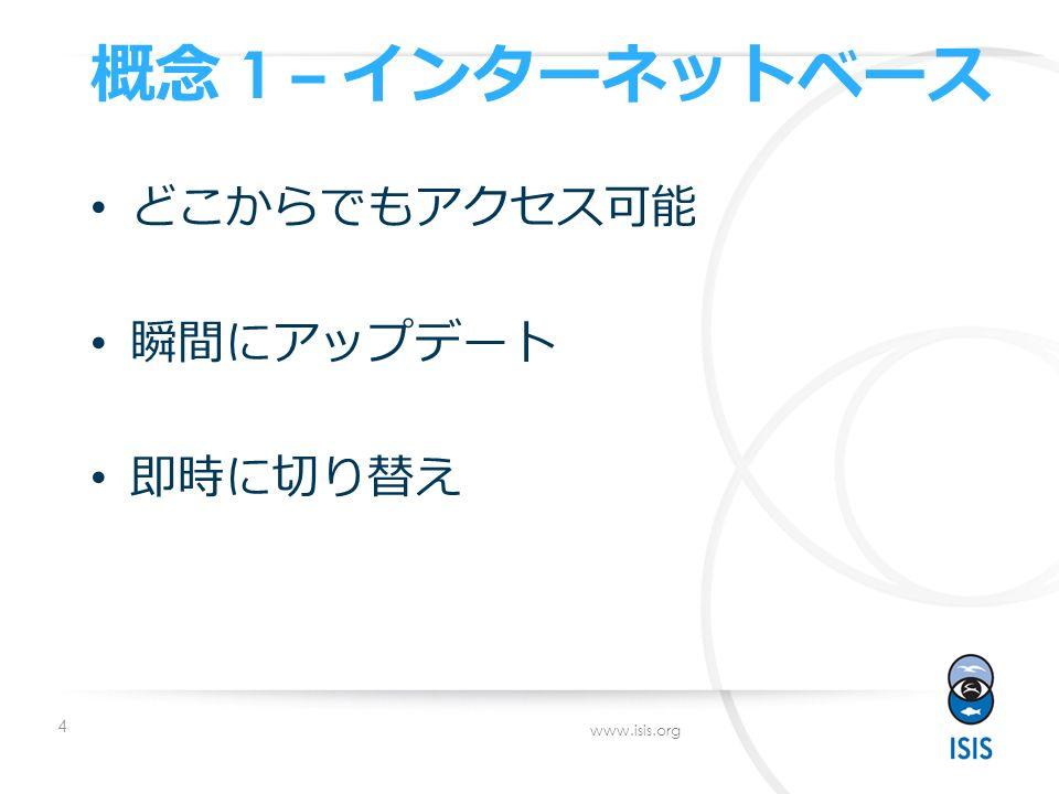 4 www.isis.org 概念 1 – インターネットベース どこからでもアクセス可能 瞬間にアップデート 即時に切り替え