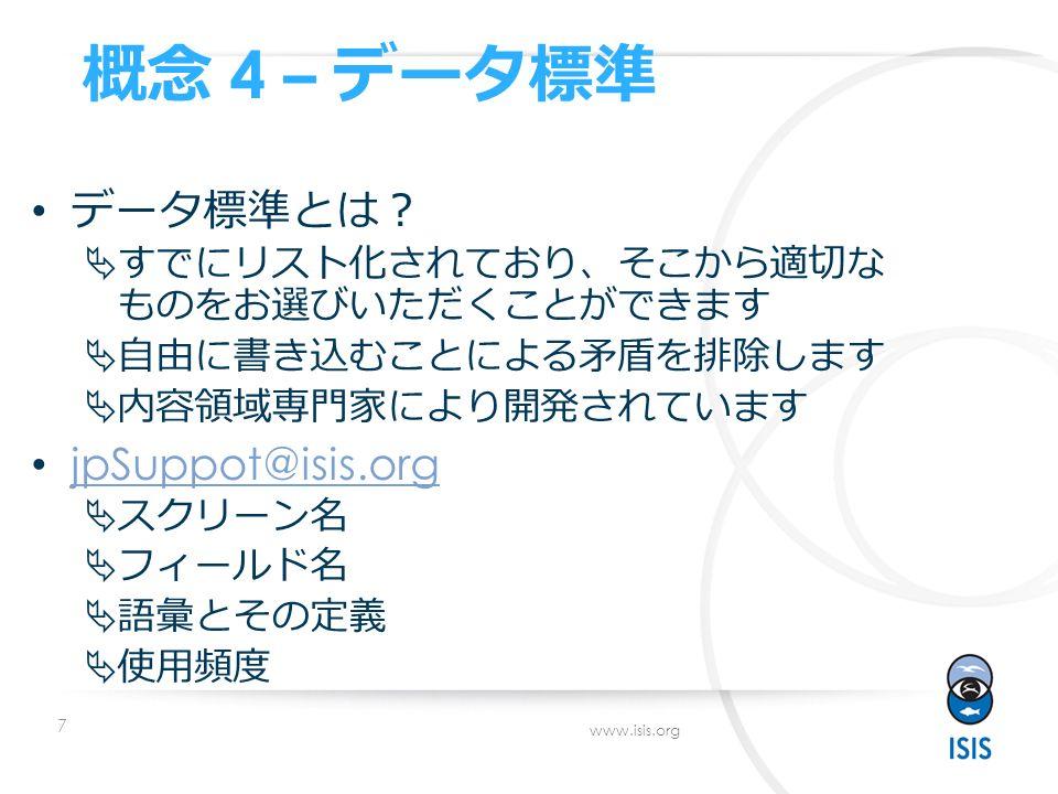 7 www.isis.org 概念 4 – データ標準 データ標準とは ?  すでにリスト化されており 、 そこから適切な ものをお選びいただくことができます  自由に書き込むことによる矛盾を排除します  内容領域専門家により開発されています jpSuppot@isis.org  スクリーン名  フィールド名  語彙とその定義  使用頻度