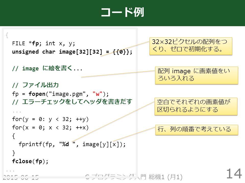 2015-06-15 C プログラミング入門 総機 1 ( 月 1) 14 コード例 { FILE *fp; int x, y; unsigned char image[32][32] = {{0}}; // image に絵を書く...